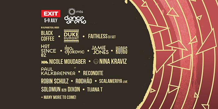 EXIT festival 2017 Dance Arena izvodjaci line up