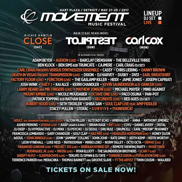 Movement Music Festival Detroit 2017 Line Up izvodjaci