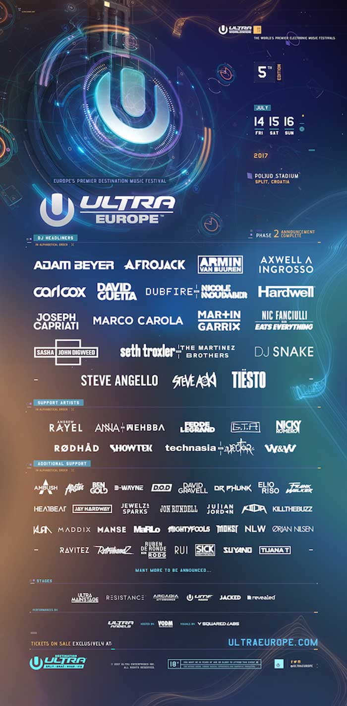 Ultra Europe 2017 Line Up izvodjaci
