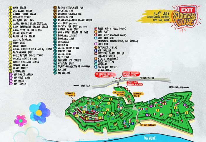 EXIT festival 2017 mapa