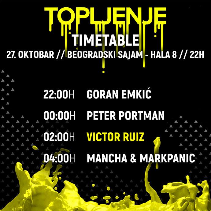 Topljenje Victor Ruiz Timetable satnica