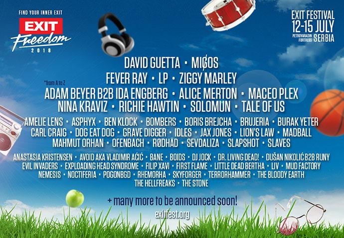 EXIT 2018 David Guetta Line Up