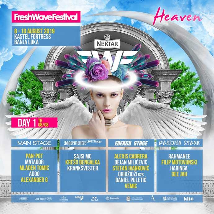 Fresh Wave festival 2019 Dan prvi Line Up