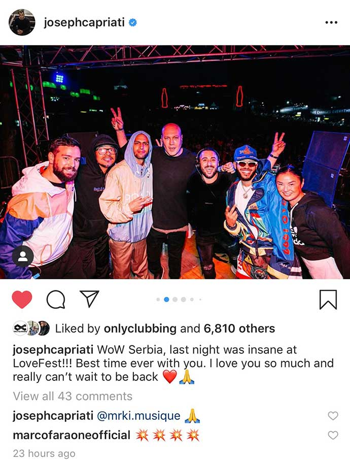 Joseph Capriati Lovefest 2019 Instagram post