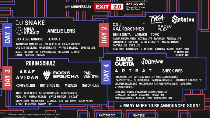 EXIT 2021 lineup po danima